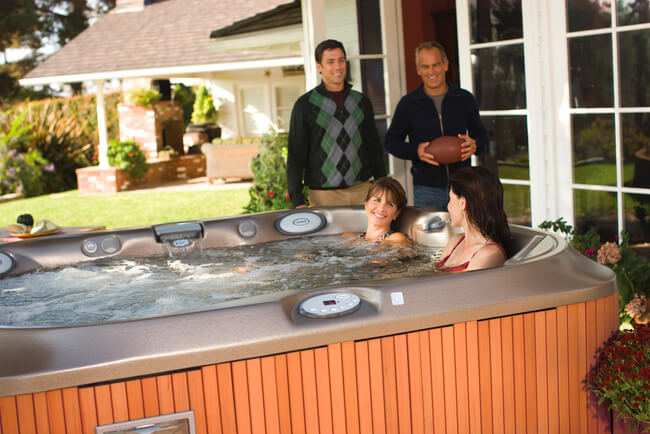 Family enjoying a hot tub